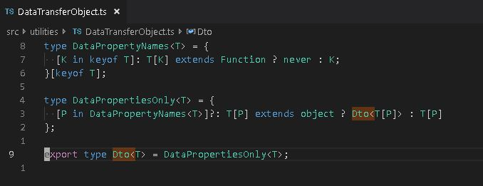 Data Transfer Object (Dto) Type Wrapper in TypeScript.